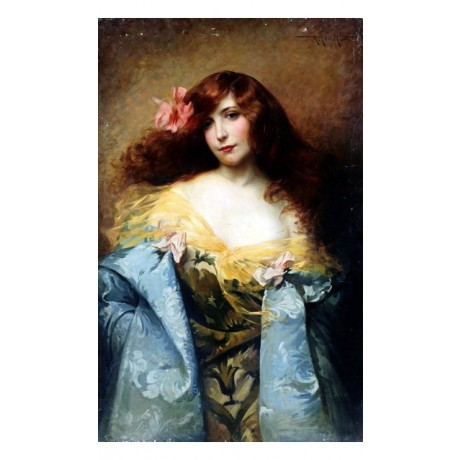 "ALBERT PENOT ""Red-Haired Beauty"" fashion GLAMOUR long hair flower CANVAS PRINT"