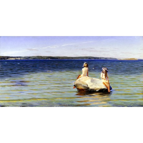 "SLOTT-MOLLER ""Mermaids"" MYTHICAL girls friendship remote rock sea CANVAS PRINT"