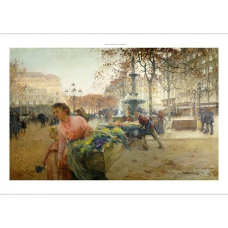 EUGENE GALIEN-LALOUE Place du Theatre Francais, Paris FLOWER seller NEW CANVAS
