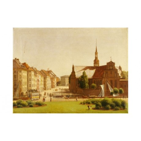 CONSTANTIN HANSEN Palace Square Copenhagen print choose SIZE, from 55cm up, NEW