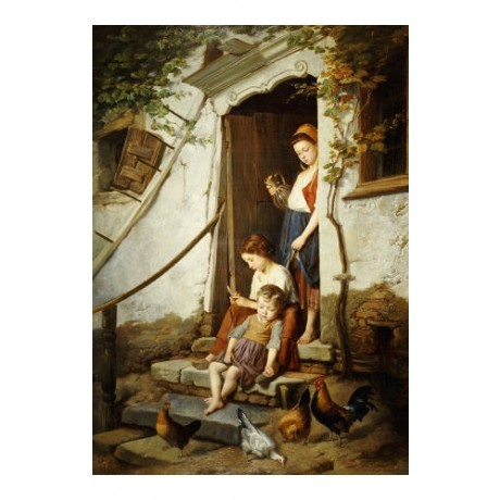 "THEODORE GERARD ""Cottage Steps"" print ON CANVAS choose SIZE, from 55cm up, NEW"