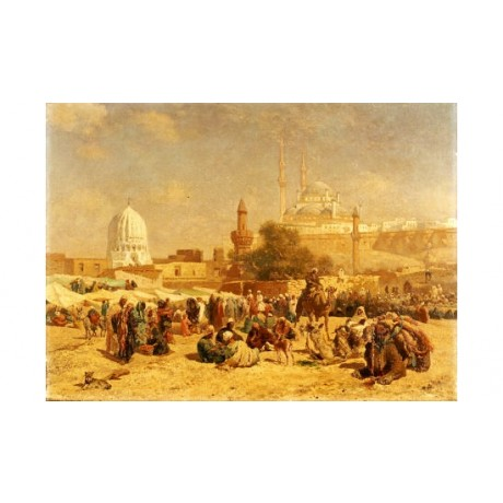 "CESARE BISEO ""Outside Cairo"" landscape ON CANVAS choose SIZE, from 55cm up, NEW"