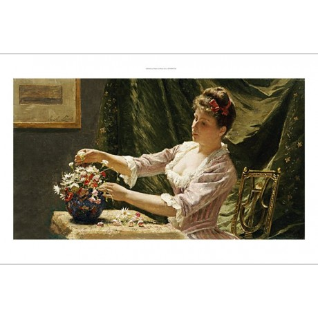 "EMILE CLAUS ""Young Woman Arranging Flowers"" print choose SIZE, from 55cm up, NEW"