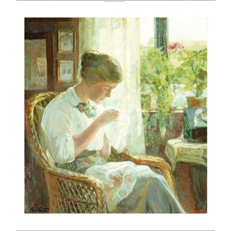 "KNUD ERIK LARSEN ""Seamstress"" portrait ON CANVAS choose SIZE, from 55cm up, NEW"