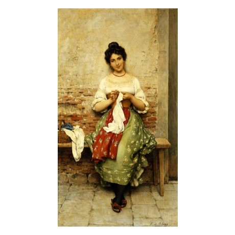 EUGEN VON BLAAS The Seamstress SMILING woman bench SEWING darning SEE our SHOP