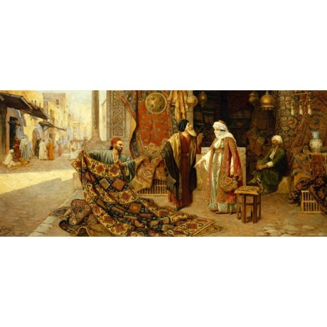 "FRANCESCO BALLESIO ""The Carpet Merchant"" man TRADER woman pointing street NEW!!"
