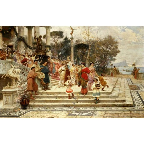 ETTORE FORTI The Feast of Neptune women PROCESSION celebration children CANVAS