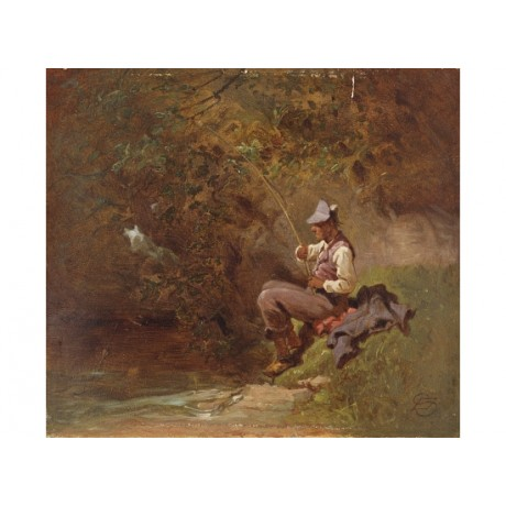 "CARL SPITZWEG ""The Angler"" fishing new PRINT on canvas! various SIZES, BRAND NEW"