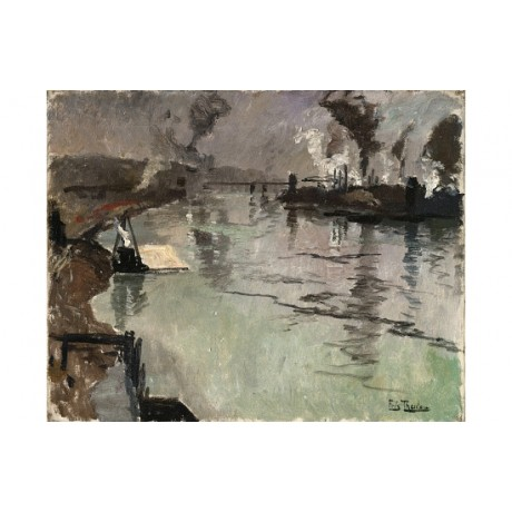 "FRITZ THAULOW ""Smokestacks Along The River"" ON CANVAS! various SIZES, BRAND NEW"