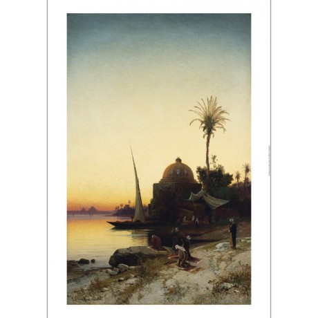 "HERMANN CORRODI ""Arab Men Praying By The Nile"" CANVAS! various SIZES, BRAND NEW"