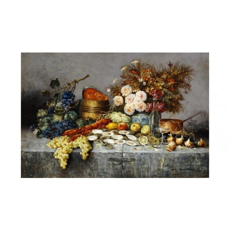 "MODESTE CARLIER ""A Bountiful Table"" Print various SIZES available"