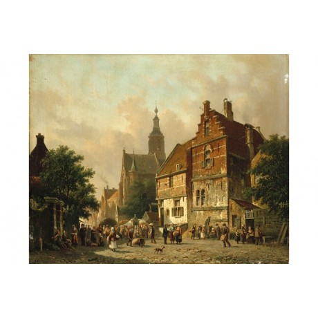 "ADRIANUS EVERSEN ""A Dutch Market Scene"" CANVAS PRINT! various SIZES, BRAND NEW"