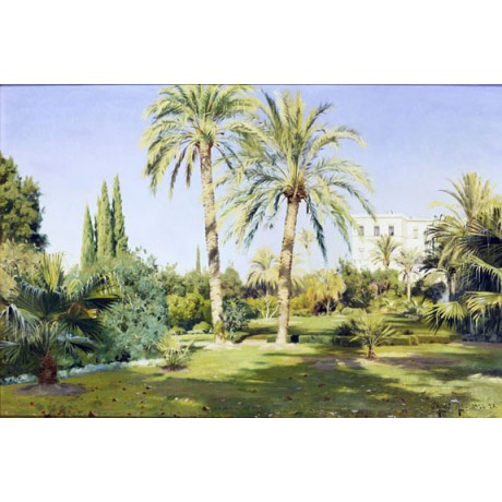 PEDER MONSTED The Royal Gardens, Athens LUSH green palm trees sun CANVAS PRINT
