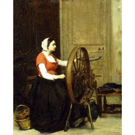 """ANTOINE VOLLON """"Woman and Spinning Wheel"""" traditional CRAFT concentration NEW!!"""