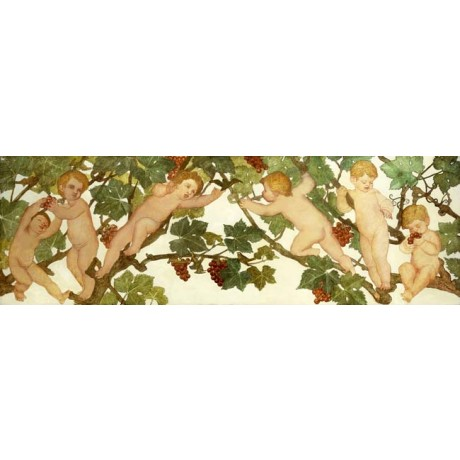 "PHOEBE ANNA TRAQUAIR ""Putti Frolicking in a Vineyard"" boys CLIMBING trees NEW!!"