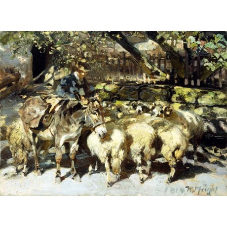 HEINRICH VON ZUGEL A Shepherd with his Flock man HERDING sheep sunlight CANVAS