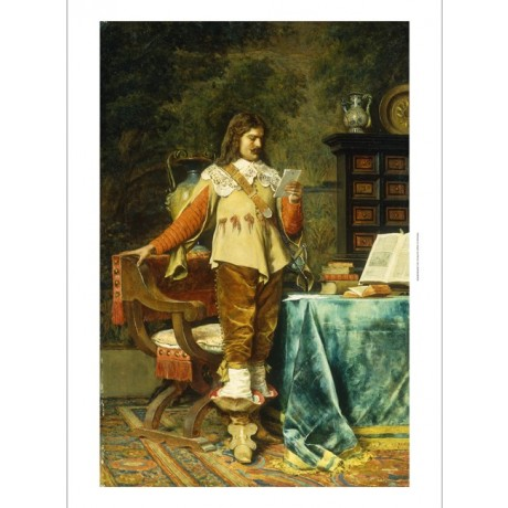 MEISSONIER Cavalier CORRESPONDENCE boots wig letter serious reading NEW CANVAS
