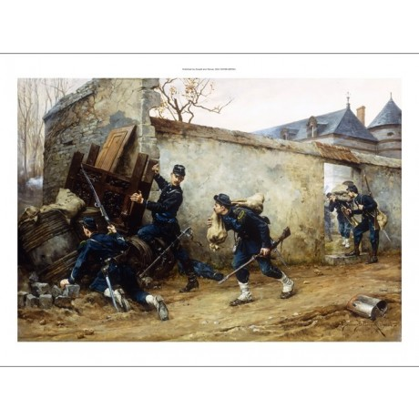 "BERNE-BELLECOUR ""Surprise Attack"" STEALTH looting uniform country house CANVAS"