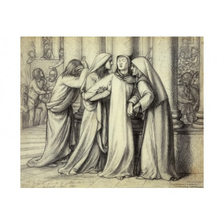 "ROSSETTI ""Virgin Mary Being Comforted"" FRIENDSHIP distress grief pillar CANVAS"
