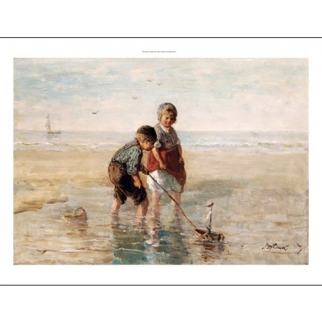 JOZEF ISRAELS Children Playing By Seaside CANVAS ART various SIZES available
