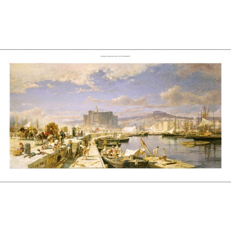"FRANZ THEODOR AERNI ""Harbour Of Naples"" art ON CANVAS various SIZES, BRAND NEW"
