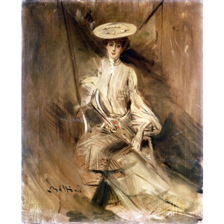 GIOVANNI BOLDINI Portrait of a Lady Seated with Parasol FASHION smiling CANVAS