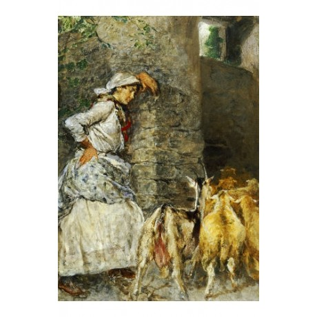 "MOSE BIANCHI ""Shepherdess"" print NEW ON CANVAS choose SIZE, from 55cm up, NEW"