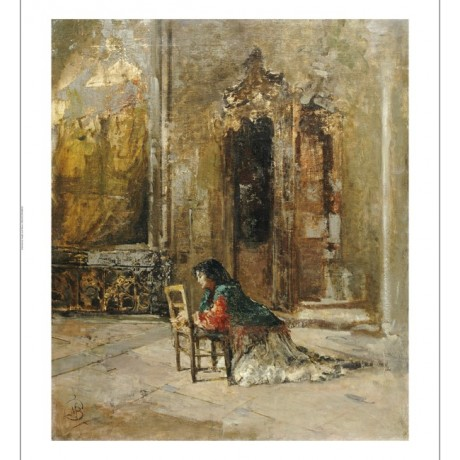 "MOSE BIANCHI ""Woman At Prayer In A Church"" ON CANVAS various SIZES available"