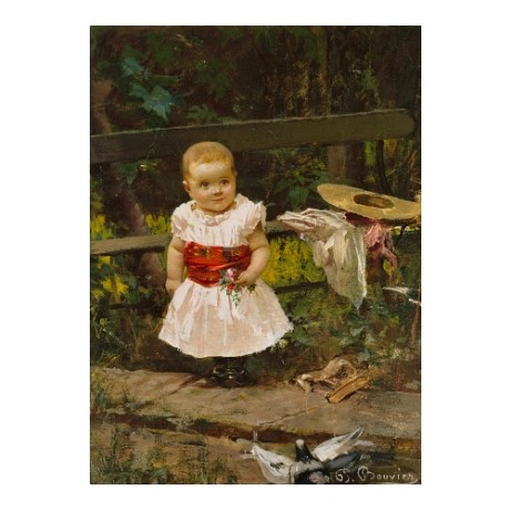 "PIETRO BOUVIER ""Child By Bench"" BABY toddler hat flowers pigeons CANVAS PRINT"