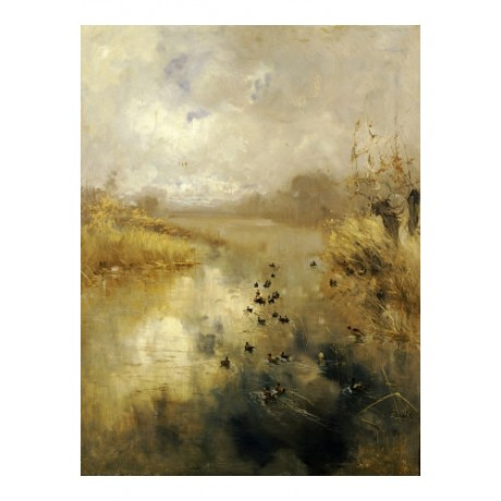 "POMPEO MARIANI ""Ducks On A Lake"" Art CANVAS ! choose your SIZE, 55cm to X LARGE"
