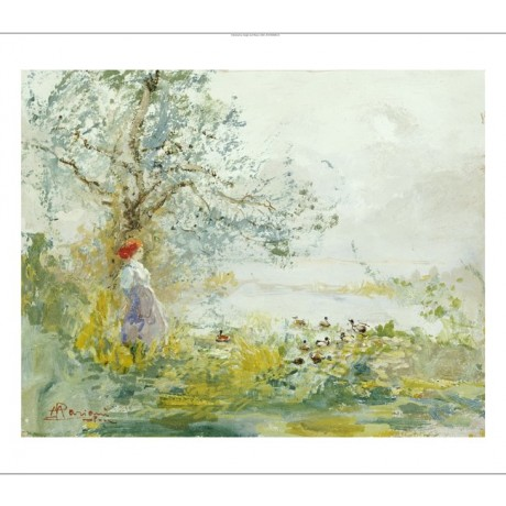POMPEO MARIANI Peasant Girl And Ducks ON CANVAS choose SIZE, from 55cm up, NEW