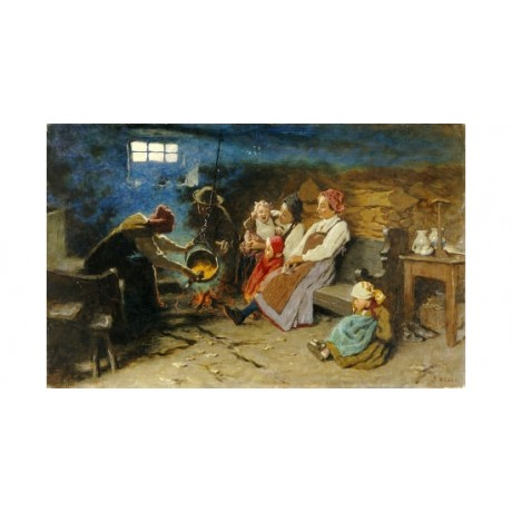 "LUIGI ROSSI ""A Cottage Interior"" italian ON CANVAS NEW various SIZES, BRAND NEW"