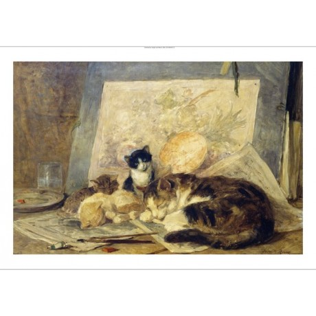 "HENRIETTE RONNER ""Sleeping Cat and Kittens"" new CANVAS! various SIZES, BRAND NEW"