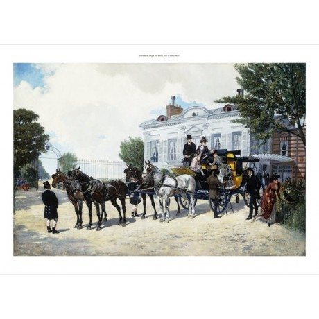 ERNEST ALEXANDRE BODOY The Hackney Carriage DEPARTURE four HORSES driveway NEW