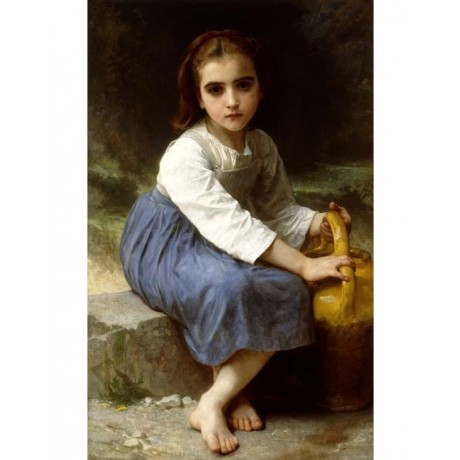 "WILLIAM ADOLPHE BOUGUEREAU ""Young Girl with a Pitcher"" sad BAREFOOT chore NEW!!"