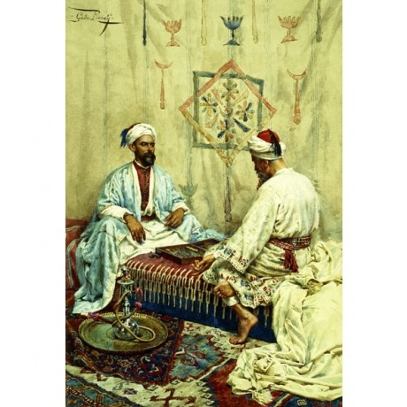 GIULIO ROSATI Arabs playing Backgammon board GAME barefoot men VISIT our SHOP!