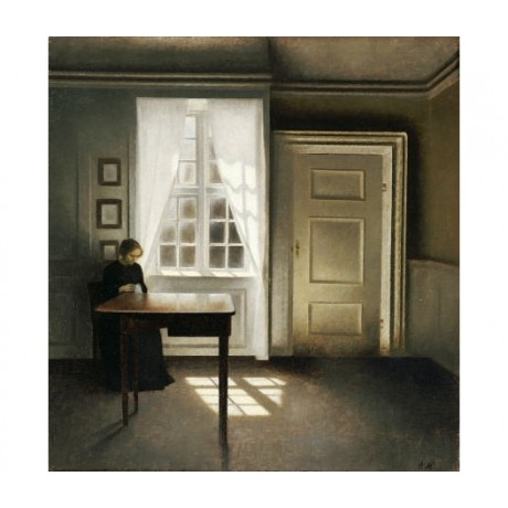 "VILHELM HAMMERSHOI ""A Woman Sewing"" Art ON CANVAS choose your SIZE, from 55cm up"