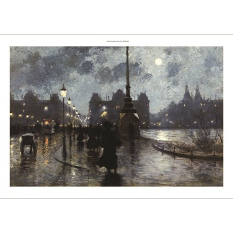 "PAUL FISCHER ""Copenhagen By Night"" danish ON CANVAS various SIZES available, NEW"