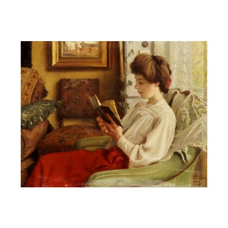 "PAUL FISCHER ""A Good Book"" print ON CANVAS choose SIZE, from 55cm upwards, NEW"