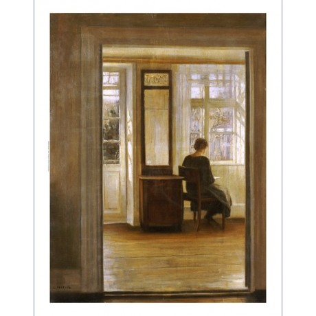 "CARL HOLSOE ""A Lady In An Interior"" Art ON CANVAS choose SIZE, from 55cm up, NEW"