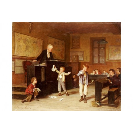 "ANDRE HENRI DARGELAS ""School Room"" people ON CANVAS various SIZES available, NEW"