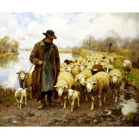 "JULIUS HUGO BERGMANN ""A Shepherd and Sheep by a Lake"" RURAL flock CANVAS PRINT"