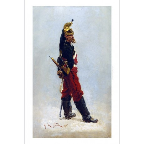 "ALPHONSE DE NEUVILLE ""Un Dragon"" GOLD helmet dragoon uniform rifle CANVAS PRINT"