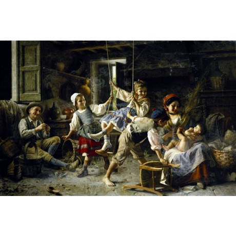 "GIOVANNI BATTISTA TORRIGLIA ""The Swing"" JOYFUL family adoring baby CANVAS PRINT"