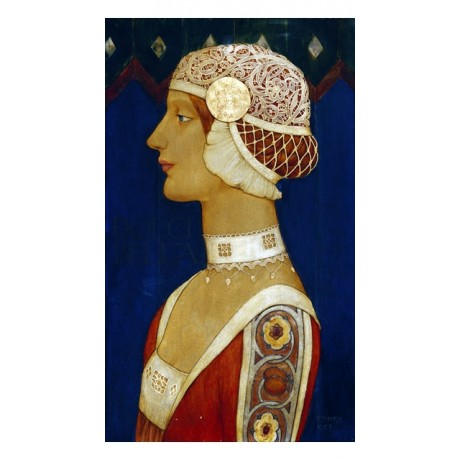 "WILLIAM JAMES NEATBY ""Sweet Beauty"" WOMAN red hair sweet lace hat CANVAS PRINT"