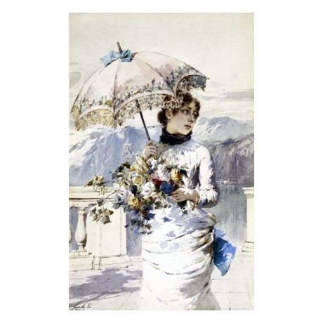 "RAVISHING NEW CANVAS PRINT ""On the Terrace"" woman DISTRACTED white ENRICO GAMBA"