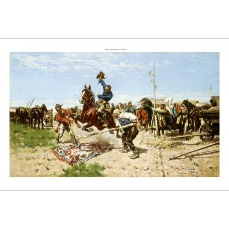BRANDT Cossacks At Play CHALLENGE jump rug cart monachium-wargamy CANVAS PRINT