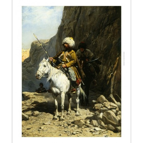 "KOWALSKI ""The Cossack"" JOURNEY weapon horse weapon mountain trail CANVAS PRINT"
