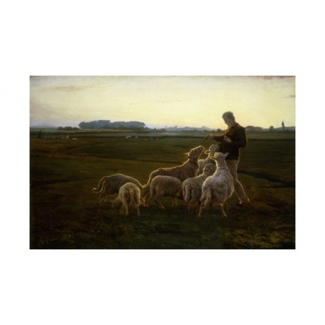 WENTORF Shepherd And Sheep With Geese CONTENTMENT livestock field flock CANVAS