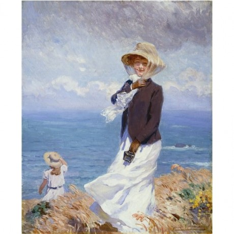 "Daniel Hernandez ""A Windy Day"" woman scarf and hat gusty coastline blue horizon"